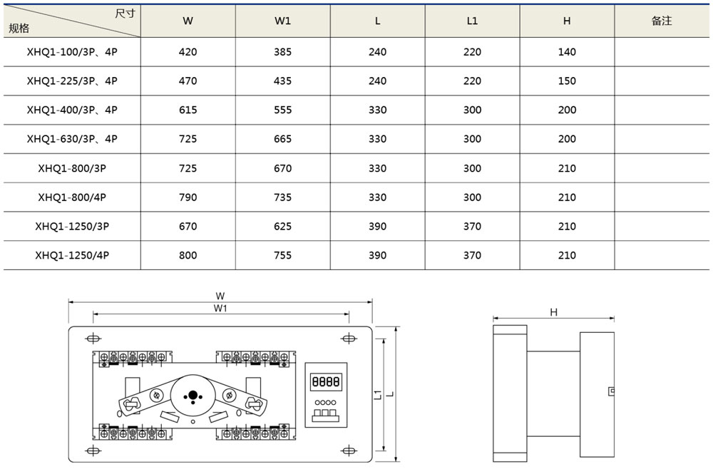 XHQ1雙電源自動轉換開關(智能型)外形及安裝尺寸
