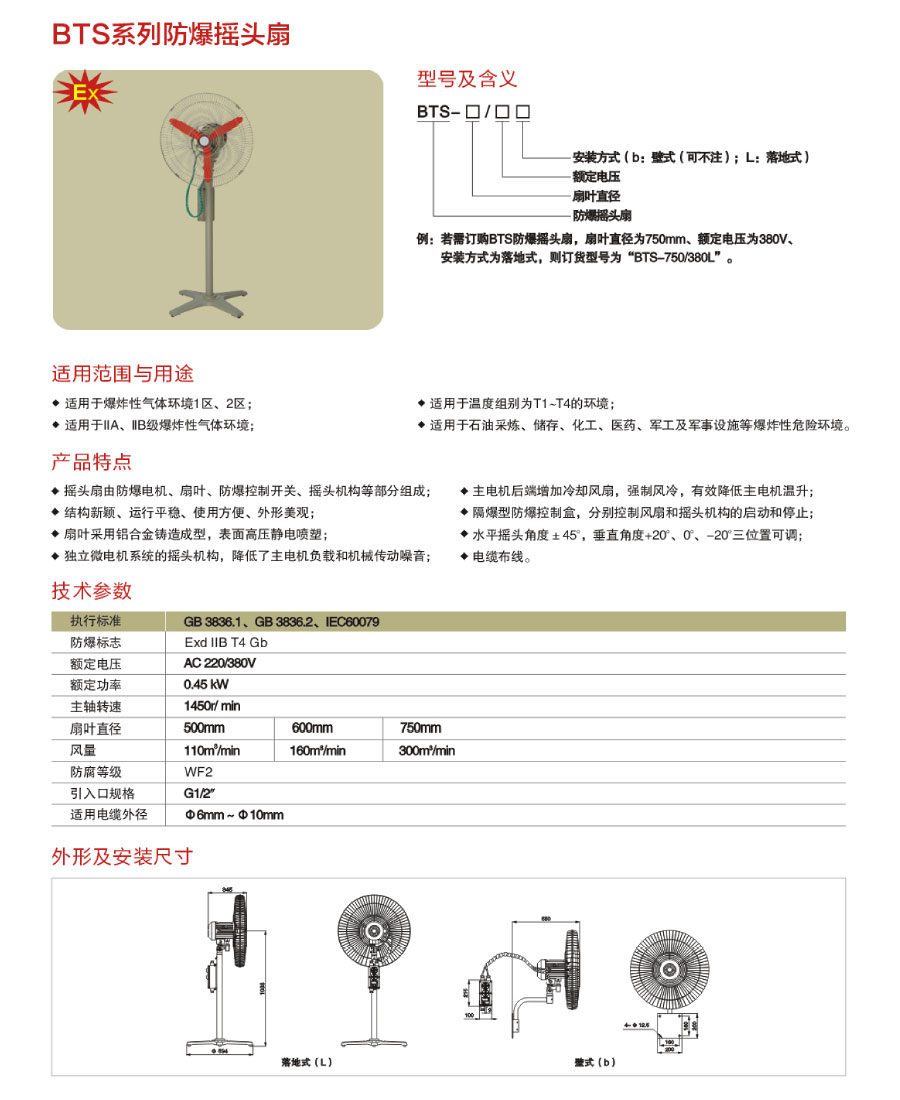 BTS系列防爆搖頭扇型號含義、技術參數及外形安裝尺寸