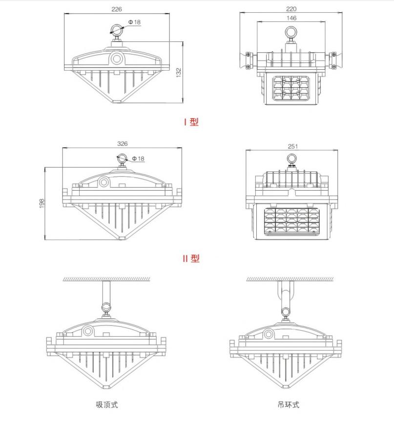 DGS10/1215/18/24/28/30/36/40/45/48/5051/52/127L(A) 系列礦用隔爆型LED巷道燈外形及安裝尺寸