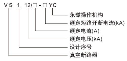 VS1-12永磁户内固封高压真空断路器型号含义