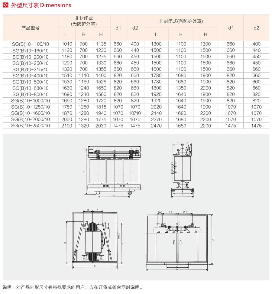 SGB10-10KV干式澆注變壓器外形尺寸
