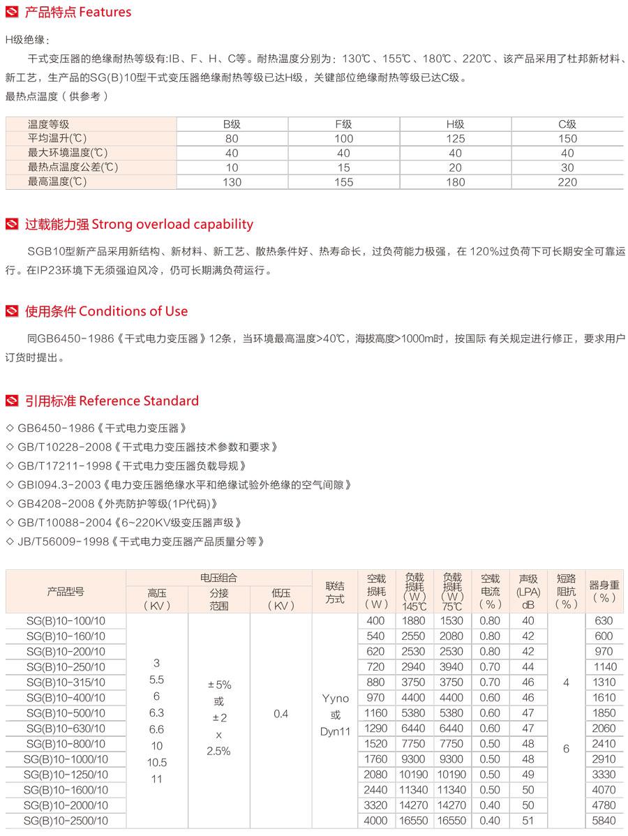 SGB10-10KV干式澆注變壓器產品特點