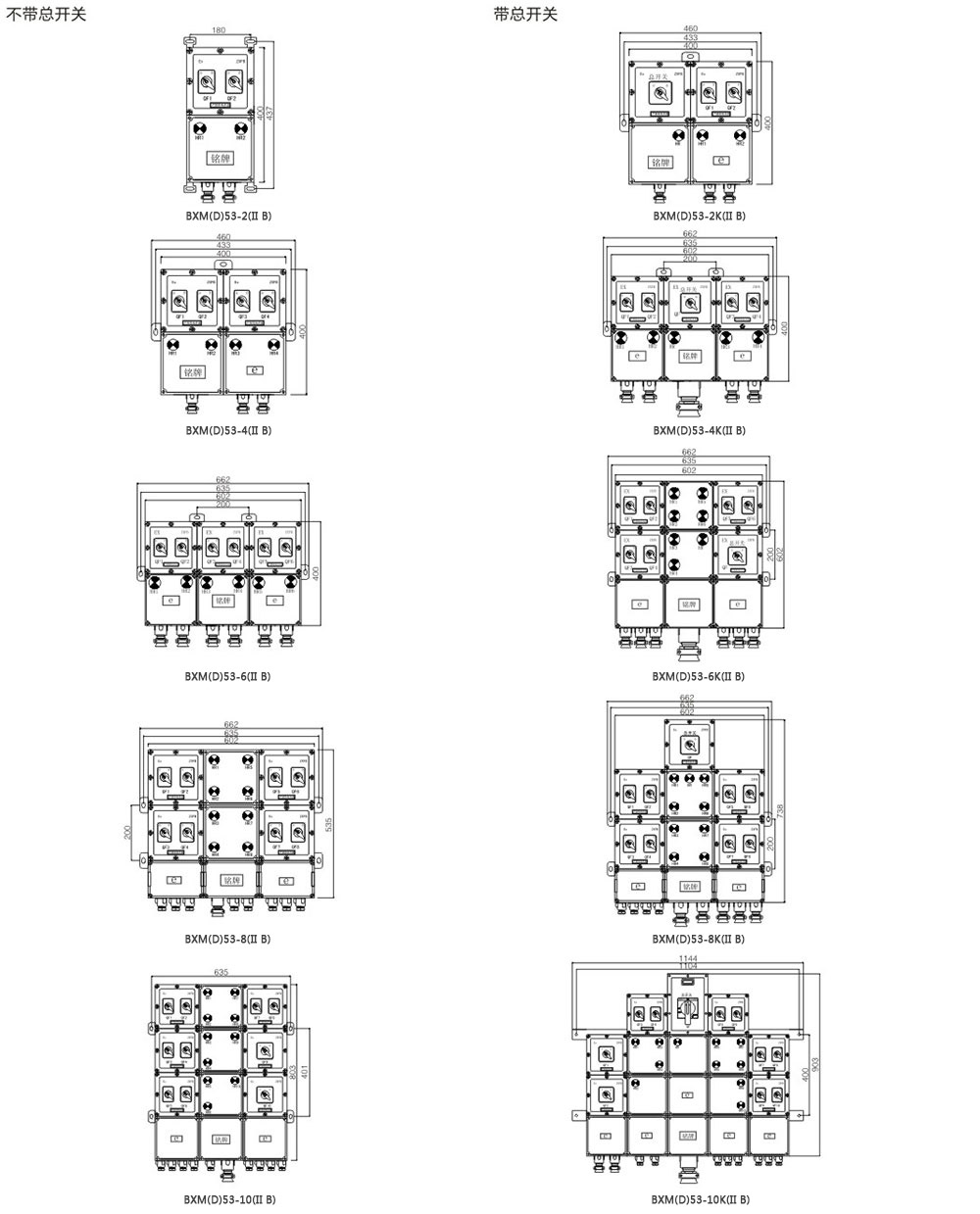 BXM(D)53-1防爆照明動力配電箱外形尺寸